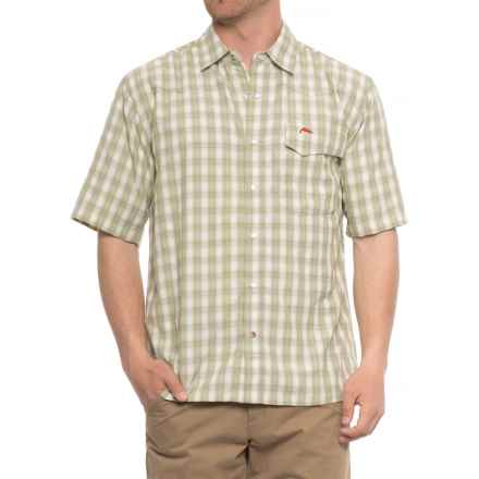 Simms Big Sky Shirt - UPF 50+, Short Sleeve (For Men) in Dark Khaki Plaid - Closeouts