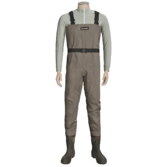Simms Blackfoot Chest Waders - Muck Boot Wetlands Lugged Sole Boots (For Men) in Brown