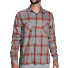 Simms Black's Ford Flannel Shirt - UPF 50+, Long Sleeve in Fury Orange Plaid - Closeouts