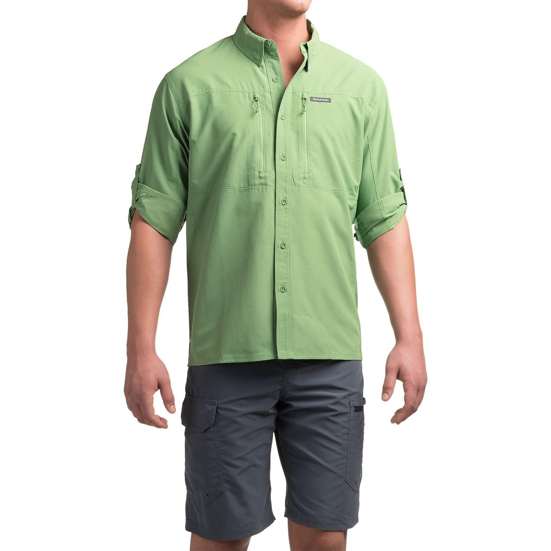 Simms bugstopper solid shirt for men save 59 for Men s upf long sleeve shirt