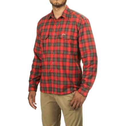 Simms Coldweather Button-Front Shirt - UPF 50+, Long Sleeve in Fury Orange Plaid - Closeouts