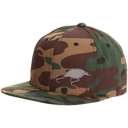 Simms Cotton Twill Snapback Baseball Cap - UPF 50+ (For Men) in Bass Lure Woodland Camo - Closeouts