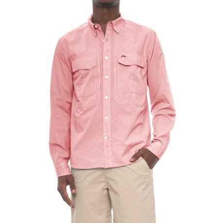 Simms Deceiver Shirt - Long Sleeve (For Men and Big Men) in Dark Coral