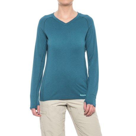 Simms Drifter Tech Shirt - V-Neck, Long Sleeve (For Women) in Teal