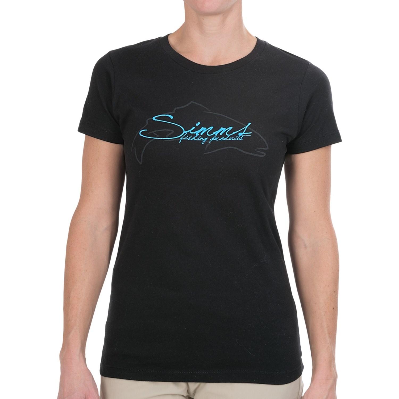 Simms fish script t shirt short sleeve for women in black for Women s fishing t shirts
