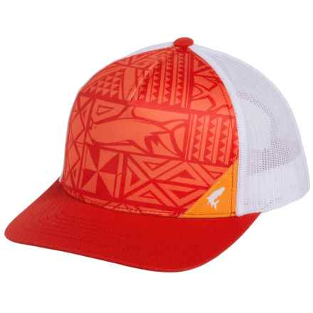 Simms Five-Panel Trucker Cap (For Men and Women) in Block Print Scarlet - Closeouts