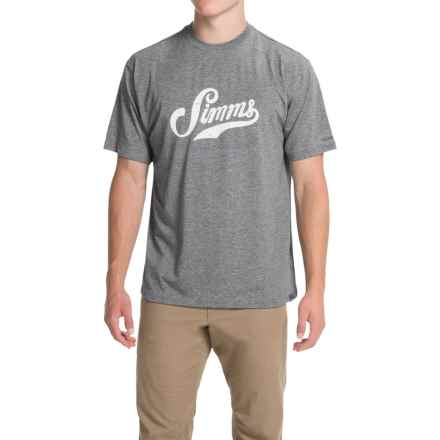 Simms Graphic Tech T-Shirt - UPF 20+, Short Sleeve (For Men) in Charcoal - Closeouts