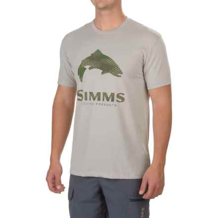 Simms Hex Camp Trout Logo T-Shirt - Short Sleeve (For Men) in Granite - Closeouts