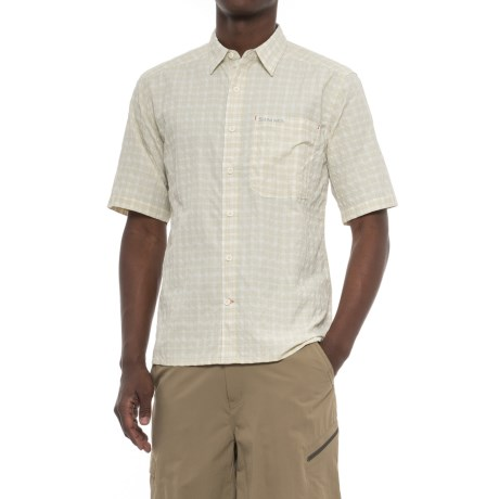 Simms Morada Shirt - UPF 30+, Button Down, Short Sleeve (For Men) in Pale Khaki Plaid