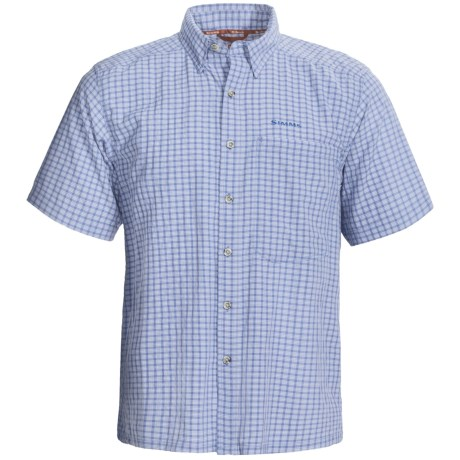 Simms Morada Shirt - UPF 50+, Short Sleeve (For Men) in Caye Green Plaid