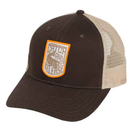 Simms Patch Trucker Cap in Catch And Release Bark - Closeouts
