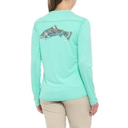 Simms Solarflex Artist Series Shirt - UPF 50+, Long Sleeve (For Women) in Larko Trout Mint - Closeouts