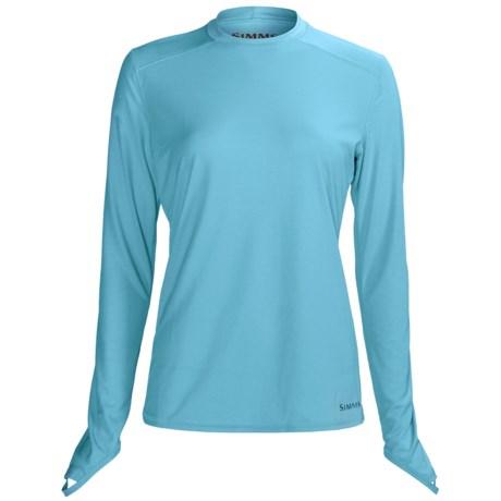 Simms Solarflex Crew Shirt - Long Sleeve (For Women) in Reef Script Print