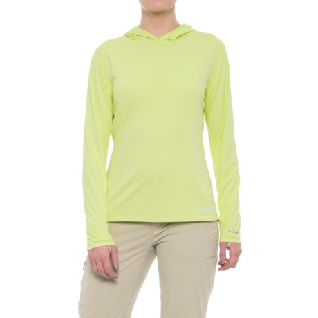 Simms SolarFlex Hoodie Shirt - UPF 50+, Long Sleeve (For Women) in Lime Green
