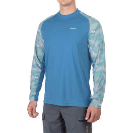 Simms SolarFlex® Prints Shirt - UPF 50+, Long Sleeve (For Men) in Hex Camo Blue Harbor - Closeouts