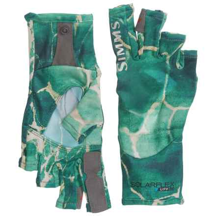 Simms Solarflex SunGloves - Fingerless, UPF 50+ (For Men) in River Rapids Island Green - Closeouts