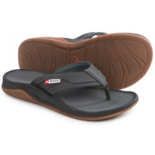 Simms Strip Flip-Flops - Vegan Leather (For Men and Women) in Coal - Closeouts