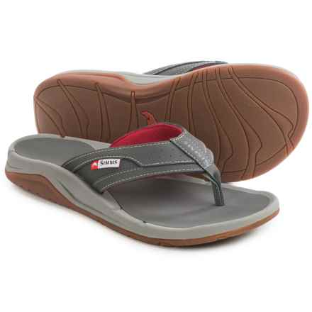 Simms Strip Flip-Flops - Vegan Leather (For Men and Women) in Lead - Closeouts