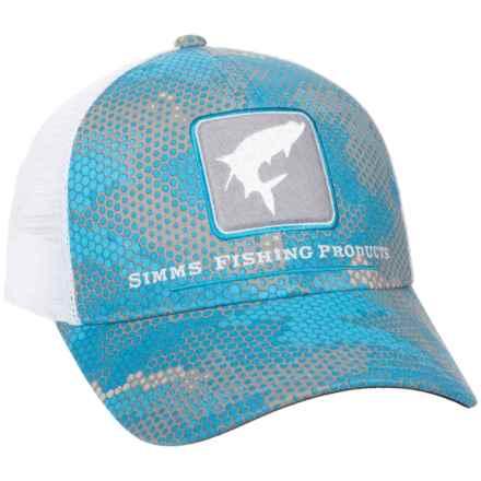 Simms Tarpon Trucker Hat in Hex Camo Capri - Closeouts