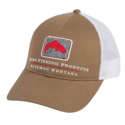 Simms Trout Trucker Cap (For Men and Women) in Coffee - Closeouts