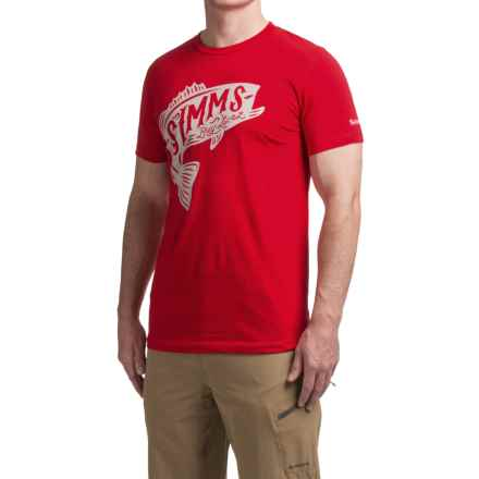 Simms Woodblock T-Shirt - Cotton, Short Sleeve (For Men) in Red Bass - Closeouts