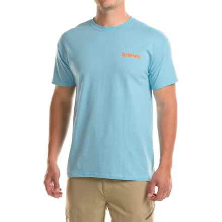 Simms Woodblock Tarpon T-Shirt - Short Sleeve (For Men) in Gulf Blue - Closeouts
