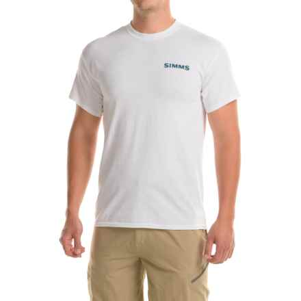 Simms Woodblock Tuna T-Shirt - Short Sleeve (For Men) in White - Closeouts