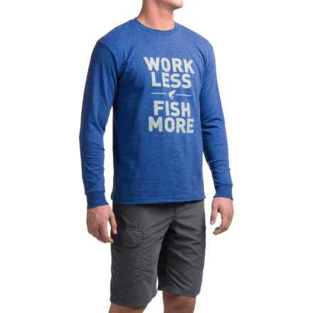Simms Work Less Fish More T-Shirt - Long Sleeve (For Men) in Deep Sea Heather - Closeouts