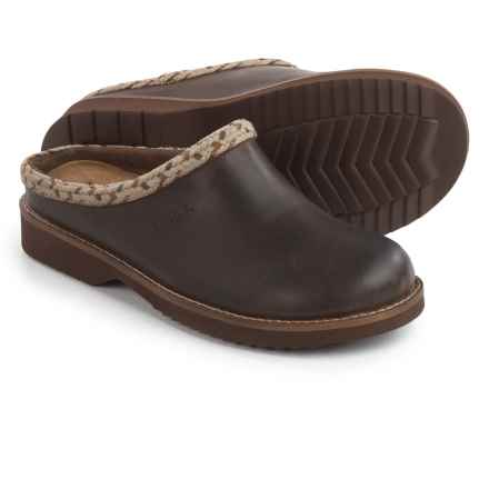 Simple Hallie Clogs - Leather, Open Back (For Women) in Dark Brown - Closeouts