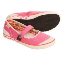 Simple Macaroon Mary Jane Shoes - Hemp, Recycled Materials (For Girls) in Bubble Gum - Closeouts