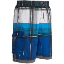 Single Side-Pocket Boardshorts (For Men) in Blue Plaid - 2nds