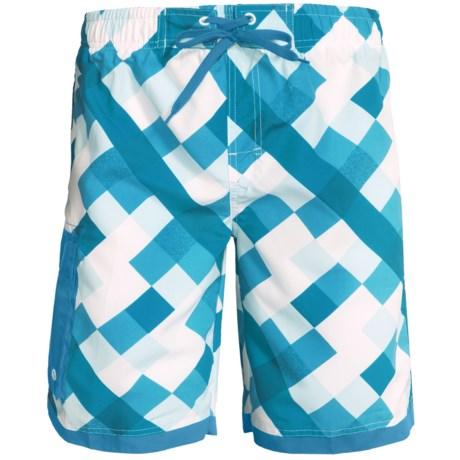 Single Side-Pocket Boardshorts (For Men) in Blue Square