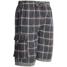 Single Side-Pocket Boardshorts (For Men) in Brown/Orange Windowpane - 2nds
