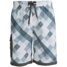 Single Side-Pocket Boardshorts (For Men) in Grey Square - 2nds