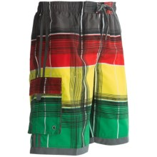Single Side-Pocket Boardshorts (For Men) in Multi Plaid - 2nds