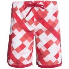 Single Side-Pocket Boardshorts (For Men) in Red Square - 2nds