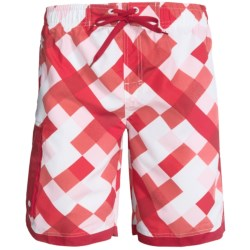 Single Side-Pocket Boardshorts (For Men) in Red Square