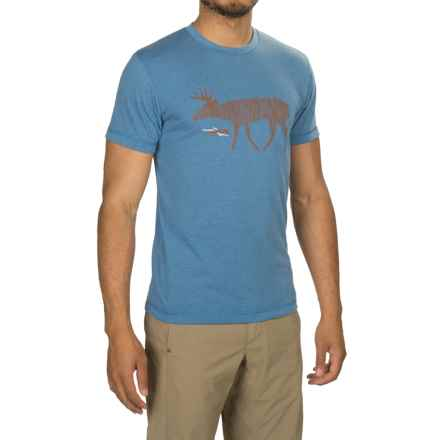 Sitka Deer Sketch Shirt - Short Sleeve (For Men and Big Men) in Lake Blue - Closeouts