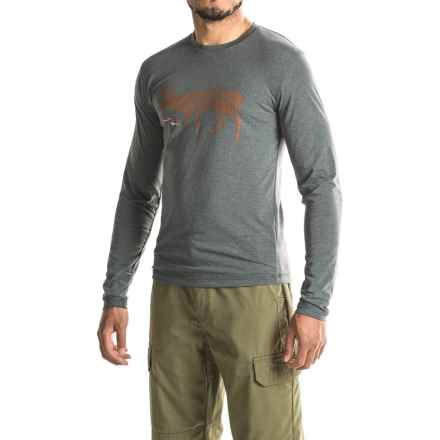 Sitka Deer Sketch T-Shirt - Long Sleeve (For Men and Big Men) in Lead - Closeouts