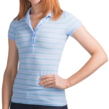 Six-Button Cotton Polo Shirt - Trim Fit, Short Sleeve (For Women) in Blue Stripe - 2nds