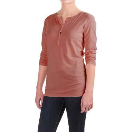 Six-Button Pima Cotton Henley Shirt - Long Sleeve (For Women) in Clay - 2nds