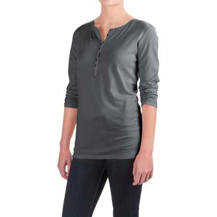 Six-Button Pima Cotton Henley Shirt - Long Sleeve (For Women) in Dark Grey - 2nds