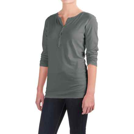 Six-Button Pima Cotton Henley Shirt - Long Sleeve (For Women) in Evergreen - 2nds