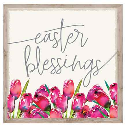 """Sixtrees 10x12"""" Easter Blessings Tulips Wall Art in See Photo - Closeouts"""