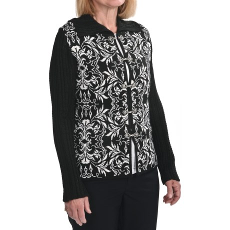 Skadi Alpaca Cardigan Sweater (For Women) in Black/Ivory