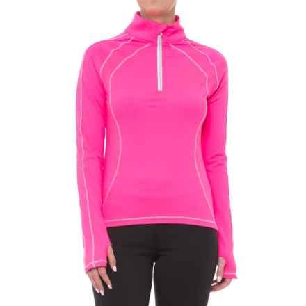 Skea Avia Shirt - Zip Neck, Long Sleeve (For Women) in Neon Pink/White - Closeouts