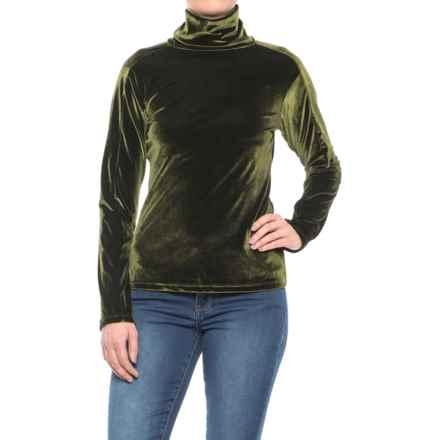 Skea Nouveau Velvet Turtleneck - Long Sleeve (For Women) in Moss Green - Closeouts
