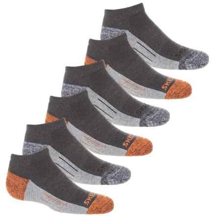 Skechers Ankle Socks - 6-Pack (For Boys) in Orange/Grey - Closeouts