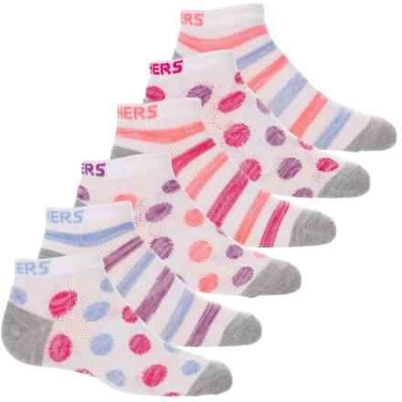 Skechers Ankle Socks - 6-Pack (For Girls) in White/Bright - Closeouts
