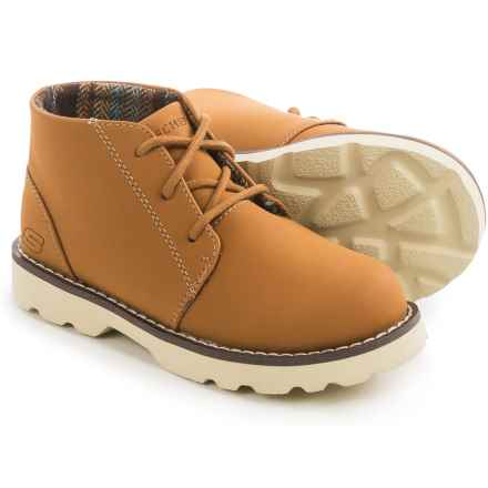 Skechers Bowland Rocky Drift Chukka Boots - Vegan Leather (For Little and Big Boys) in Brown Camel - Closeouts